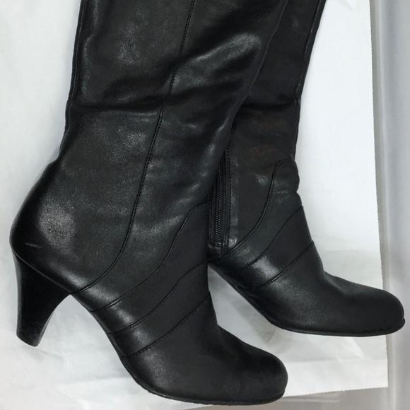 27a8eec3ea2 BOC Born Black Leather Boots 8.5 M/W Knee High